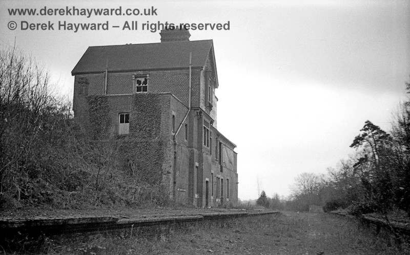 Newick & Chailey Station captured on 12 April 1965 in some lovely images taken by John Attfield.  John retains all rights to these images but has kindly allowed me to use them on my site.  This south facing view shows the highly unusual station building which catered for the heavily sloping site at the station entrance.