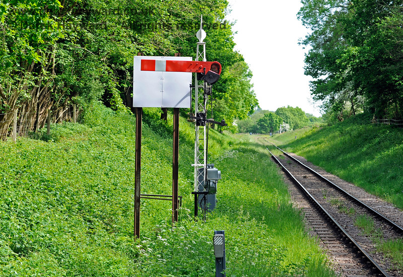 In 2018 the Outer Home signal post was refurbished, although the decorative top did not retain it's previous red colour.  A sighting board, which improves visibility of the signal to drivers, was also added. 18.05.2018 16478