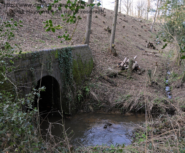 The eastern entrance to the culvert that takes water under the railway south of Three Arch Bridge.  One of the railway's drainage ditches can be seen running south and discharging into the water.  24.02.2011 6050