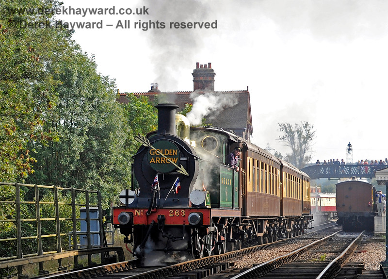 As trains leave Sheffield Park the first feature they encounter is the River Ouse Bridge, a substantial double track structure.  263 is about to run on to the bridge with the Golden Arrow on 04.10.2015 12040