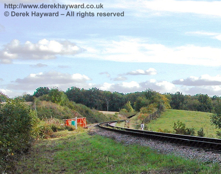 The former position of Otye Bridge is marked in this low resolution shot looking south from Tremains foot crossing. At the time the bridge was still open and the bridge parapet was surrounded by orange safety fencing and scaffolding. 09.10.2005