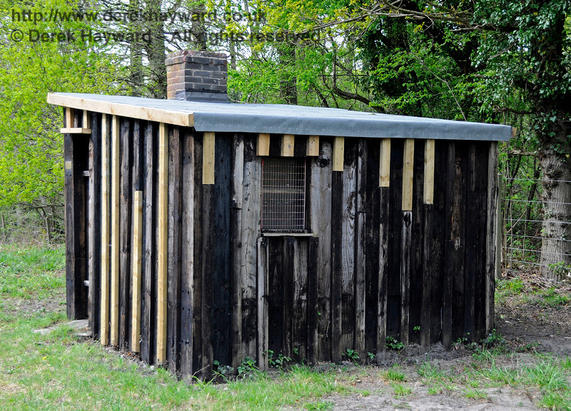 A further image of the PWay hut to the north of Sloop Bridge, with the roof replaced but work still in progress.   07.05.2016 15100