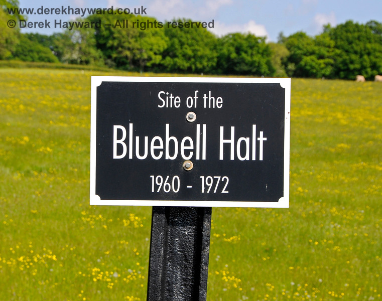 A sign marking the position of the former Bluebell Halt, just south of Horsted Keynes. 20.05.2018 18441