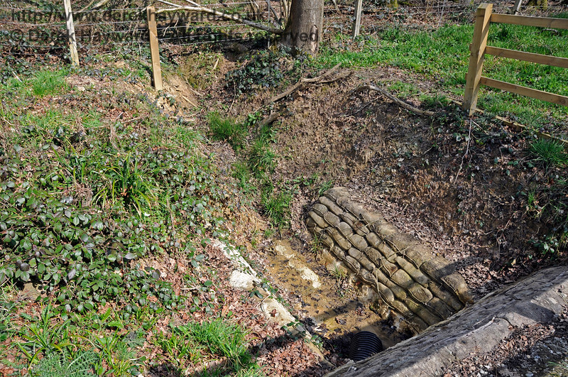 Looking down into the re-engineered culvert in Lindfield Wood that carries water under the railway.  06.04.2015 12094