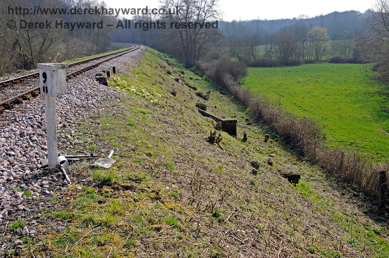 It's 2015 and the lineside clearance team have been through, making the remnants of Allen's Bridge much easier to see.  06.04.2015 12114