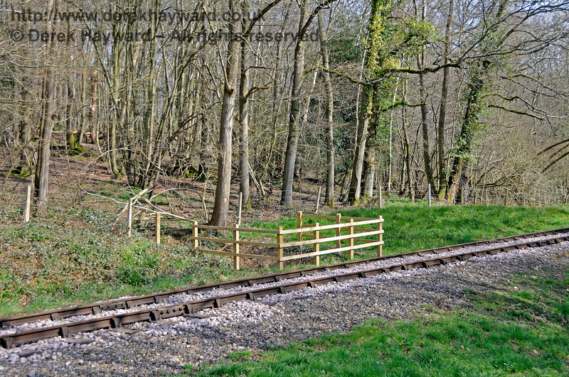 On the curve in Lindfield Wood previously pictured, new fencing was erected around the re-engineered culverts. 06.04.2015 12097