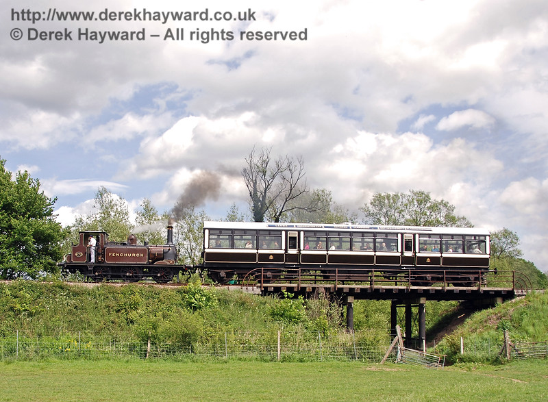 A little further north is Poleay Bridge, which gives access to a meadow.  At times when the river is high excess water can escape under this bridge.  672 Fenchurch runs north with the Observation Car on 08.05.2007