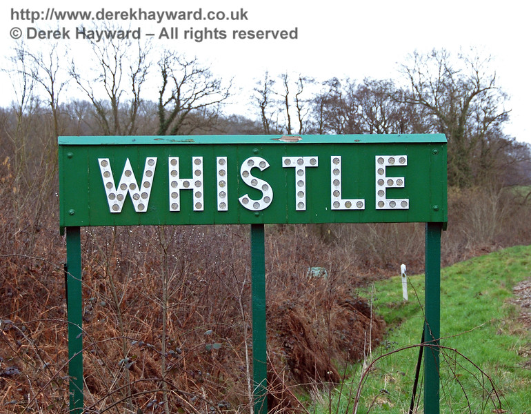 "A closer view of the ""Whistle"" board north of Tremains foot crossing. 24.02.2007"