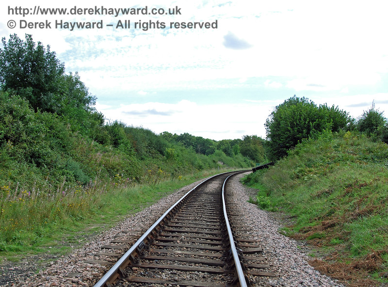 On the same day as the previous picture, this image looks south into Rock Cutting along the track over which 80151 had just run.  In those days the lineside was rather more overgrown. 27.08.2007