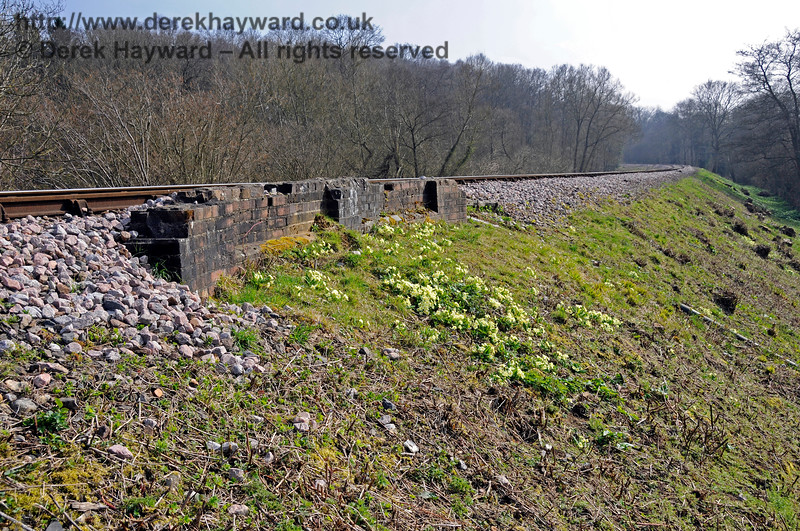 The infill at Allen's Bridge seems to have generated a nice display of primroses.  Part of the character of the railway is to show how things would have looked in past times but a number of these bridges have been removed for operational reasons.  06.04.2015 12116