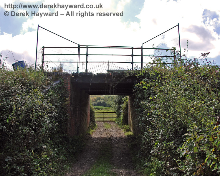 A second view of Palmers Cattle Creep, looking west. The odd shape to the fencing on the bridge arises from temporary fencing around a hole in the bridge. 23.09.2007