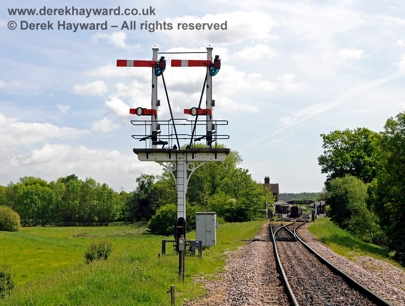 The newly refurbished Inner Home bracket signal at Sheffield Park. 18.05.2018 18303