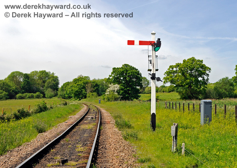 """Unfortunately the very impressive tall post of the Sheffield Park Advance Starter suffered from rot, and in 2018 it was reduced to a more """"normal height.  It is always a shame to lose such features, but the cost of a new post would have been prohibitive, even assuming one could be sourced. 18.05.2018 18299"""