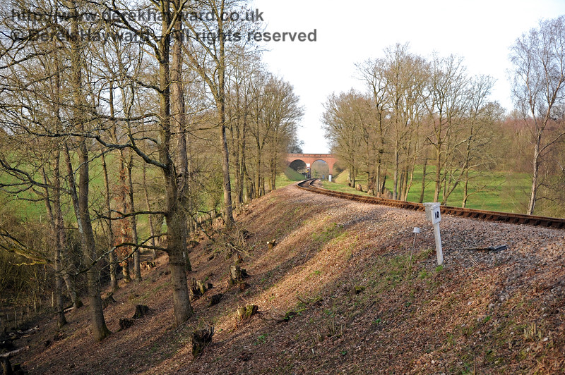 Just north of the culvert, this view looks north towards Three Arch Bridge following lineside clearance on the western embankment. 24.02.2011 0186
