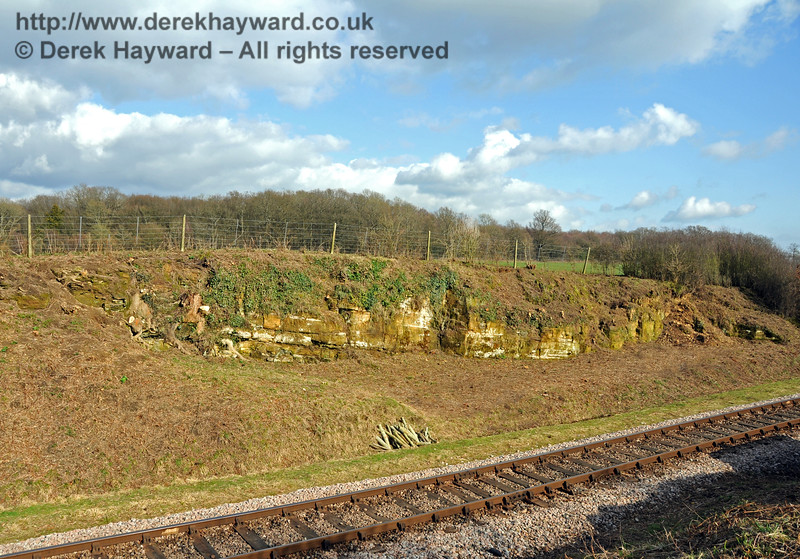 A wider view of Rock Cutting after the Wednesday Lineside Clearance Gang had cleared the undergrowth. 21.03.2010