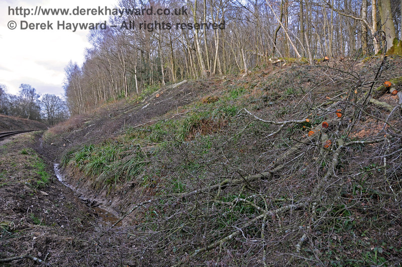 A closer view of the lineside clearance that took place on the eastern embankment of Lindfield Wood in 2011.  The drainage ditch runs towards the culverts that were later reconstructed in 2015.  09.03.2011 6196