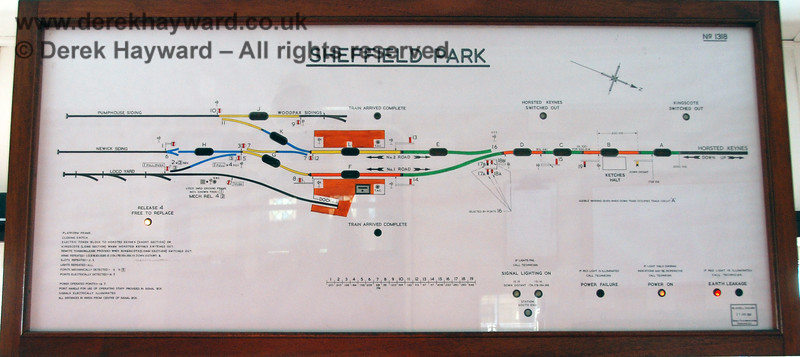 "The Sheffield Park signal box diagram.  At the time the board was indicating ""Earth Leakage"", for which the signalman would have been required to call S&T.  08.05.2007 (This image can be enlarged by clicking on the picture)."