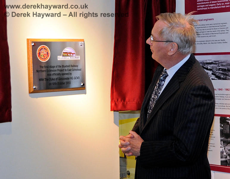 HRH The Duke of Gloucester KG GCVO unveiled a plaque in the museum marking the official opening of the final stage of the Bluebell Railway Northern Extension Project to East Grinstead. 10.10.2013  8290