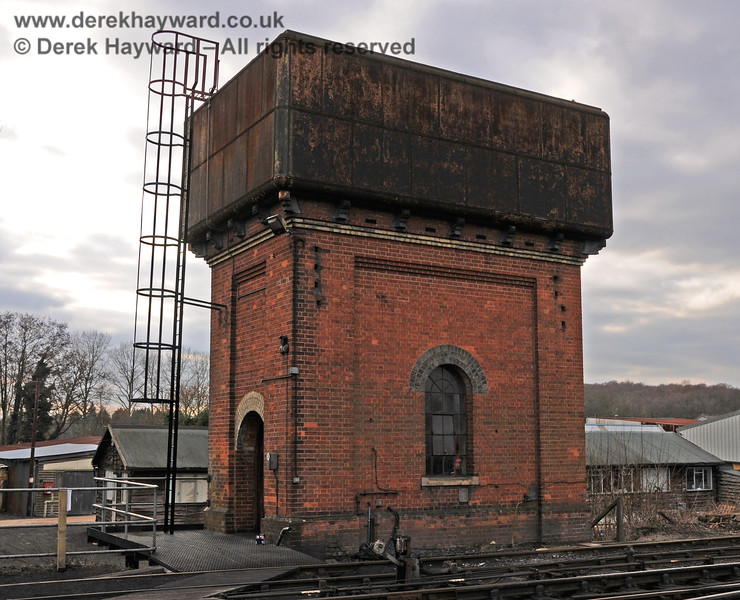 The water tower at Sheffield Park just after a new ladder had been fitted. 13.03.2010 1374