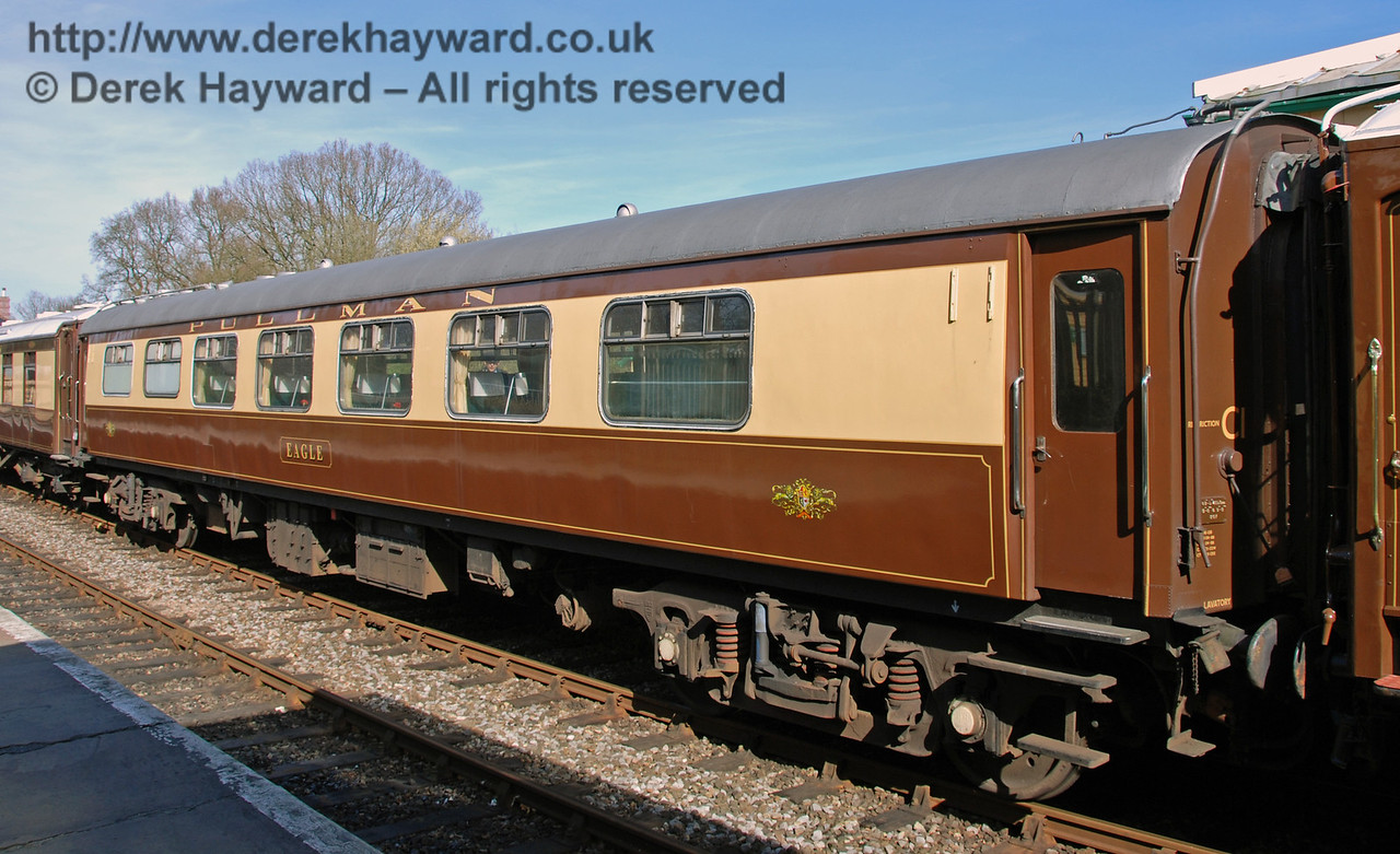 Pullman car Eagle at Kingscote.  This carriage has since left the railway.  11.03.2007