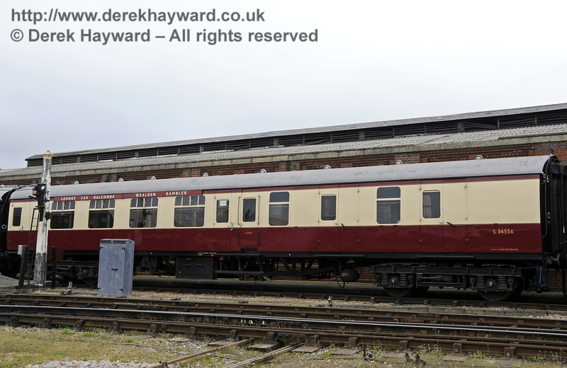 An exterior view of the Wealden Rambler Lounge Car Balcombe.  This coach is a Brake Second, and includes an area for the Guard.   05.04.2014  10233