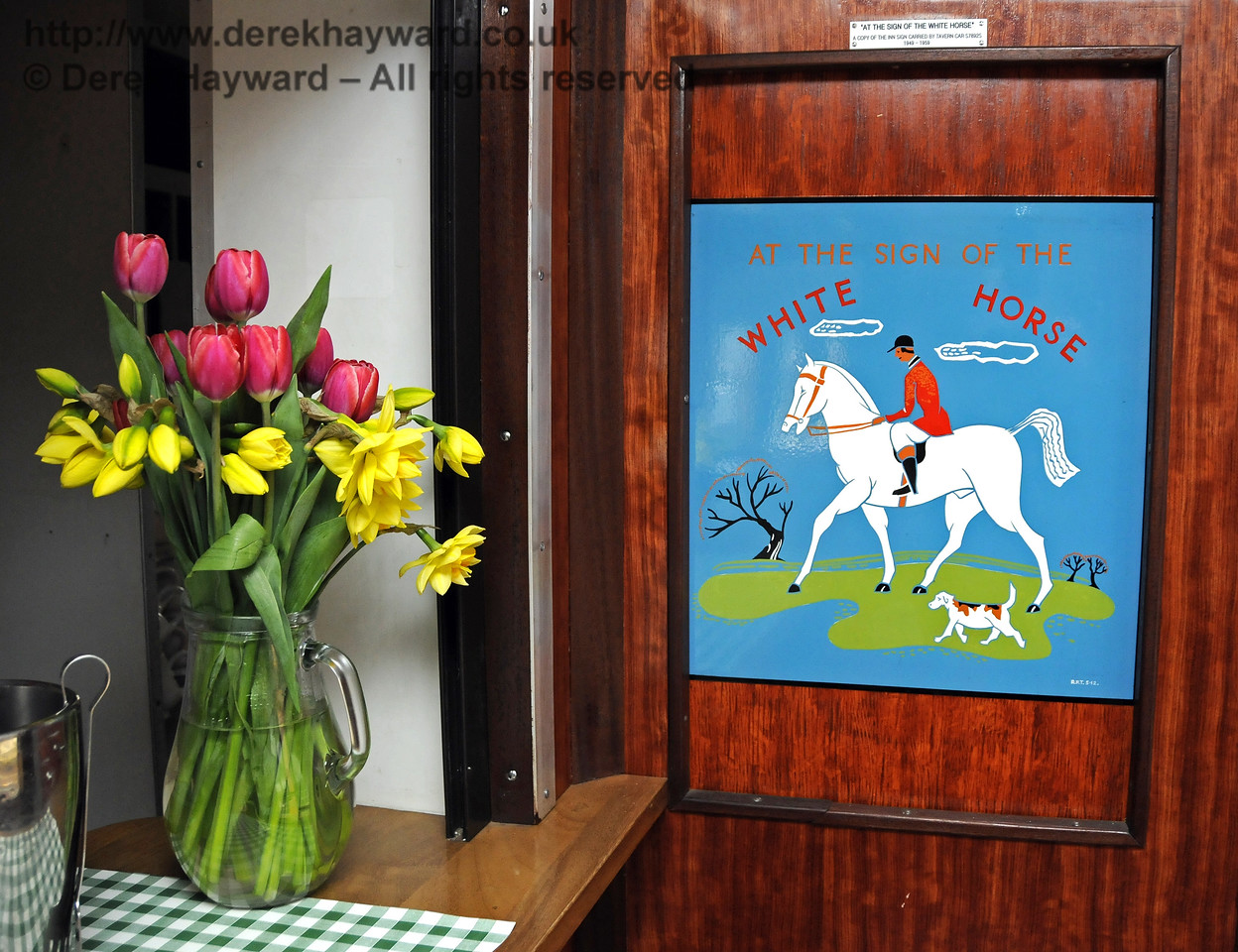 """Inside the Wealden Rambler Restaurant Car, which carries the name """"At the Sign of the White Horse"""".  30.03.2014  10121"""