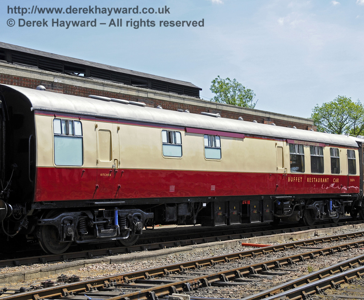 """An exterior view of the Wealden Rambler Restaurant Car, which carries the name """"At the Sign of the White Horse"""".  01.06.2011  7374"""