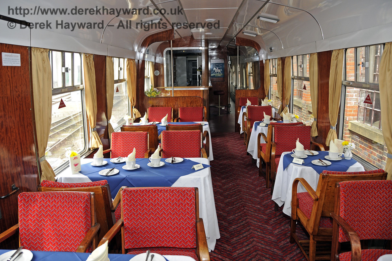 """Inside the Wealden Rambler Restaurant Car, which carries the name """"At the Sign of the White Horse"""".  30.03.2014  10111"""