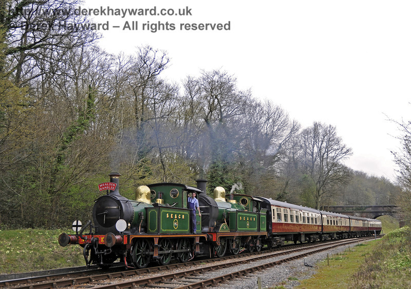 The augmented four coach Wealden Rambler, hauled by 178 and 263, steams north from Leamland Bridge whilst afternoon tea is served on board.  Advance booking is essential as the train is often over subscribed.