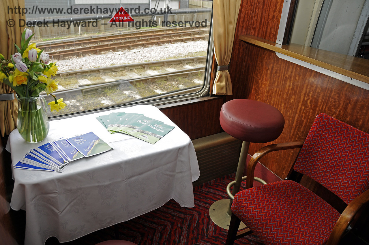 """Inside the Wealden Rambler Restaurant Car, which carries the name """"At the Sign of the White Horse"""".  30.03.2014  10114"""