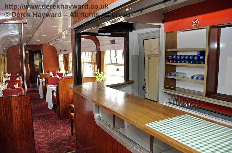 "Inside the Wealden Rambler Restaurant Car, which carries the name ""At the Sign of the White Horse"".  30.03.2014  10116"