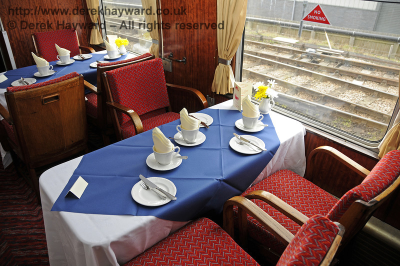 "Inside the Wealden Rambler Restaurant Car, which carries the name ""At the Sign of the White Horse"".  30.03.2014  10113"