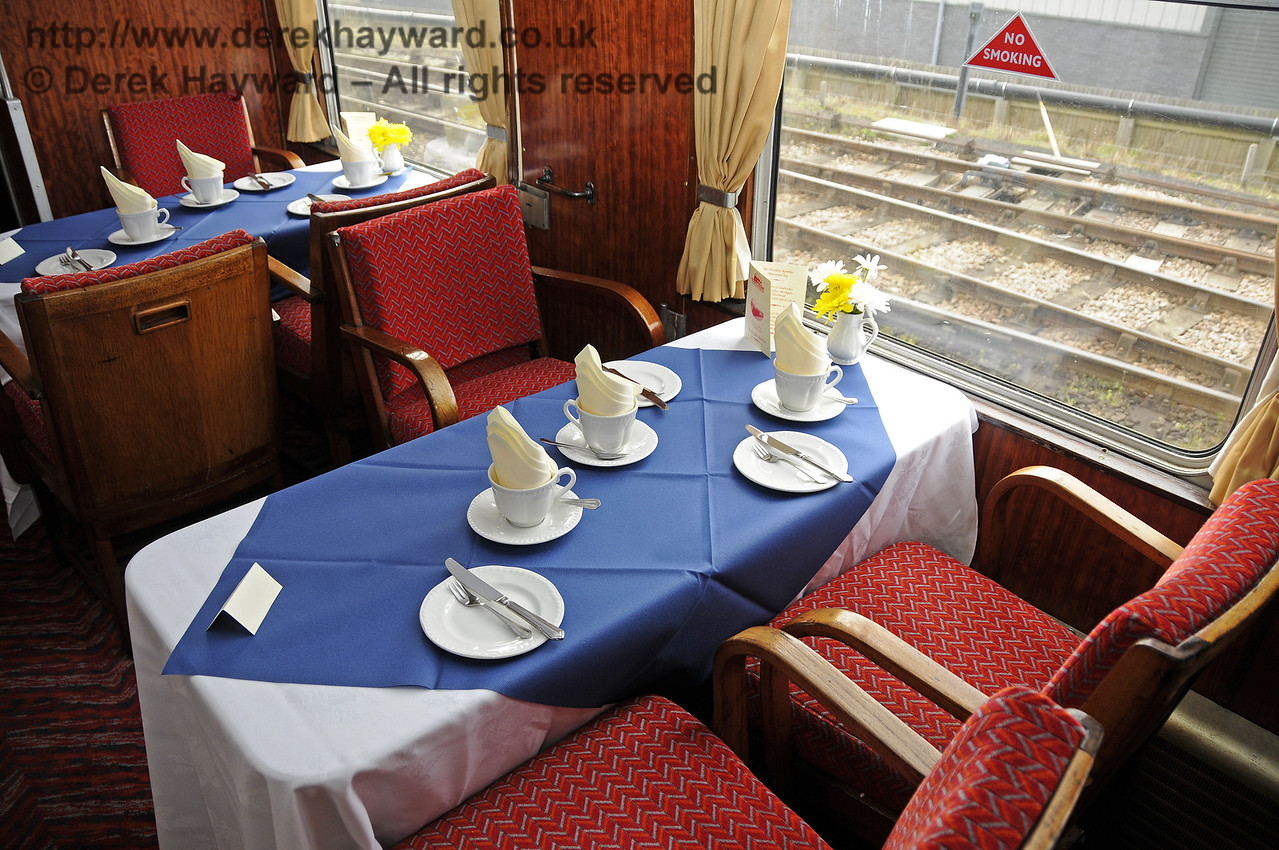 """Inside the Wealden Rambler Restaurant Car, which carries the name """"At the Sign of the White Horse"""".  30.03.2014  10113"""