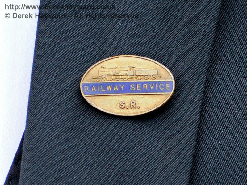 A Southern Railway lapel badge worn by all SR staff during the war.  Southern at War, East Grinstead,  09.05.2015   11043