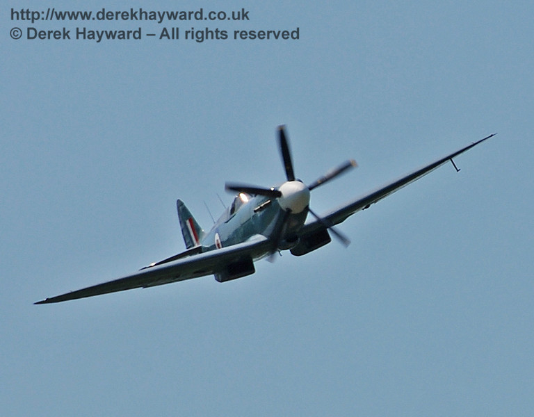 Battle of Britain Memorial Flight Spitfire fly-past at Horsted Keynes. 11.05.2008