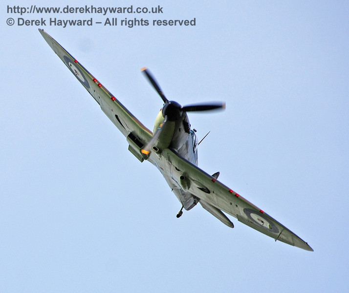 Battle of Britain Memorial Flight Spitfire fly-past at Horsted Keynes. 10.05.2008