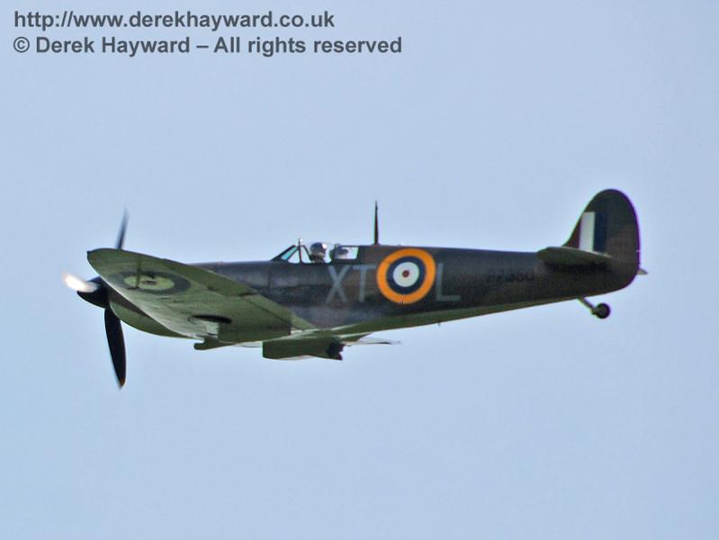 Battle of Britain Memorial Flight Spitfire fly-past at Horsted Keynes. 10.05.2008