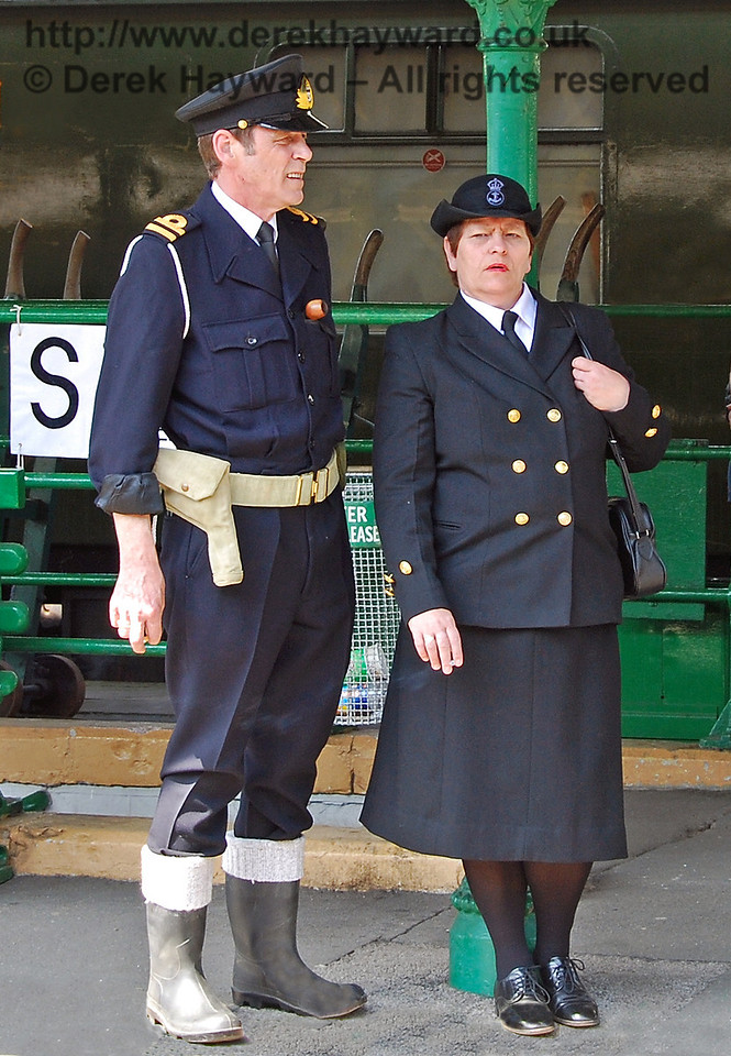 The navy wait for a train near the air raid shelter at Horsted Keynes. 11.05.2008