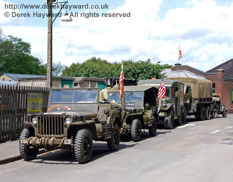 Military vehicle display on the forecourt at Horsted Keynes. 09.05.2009