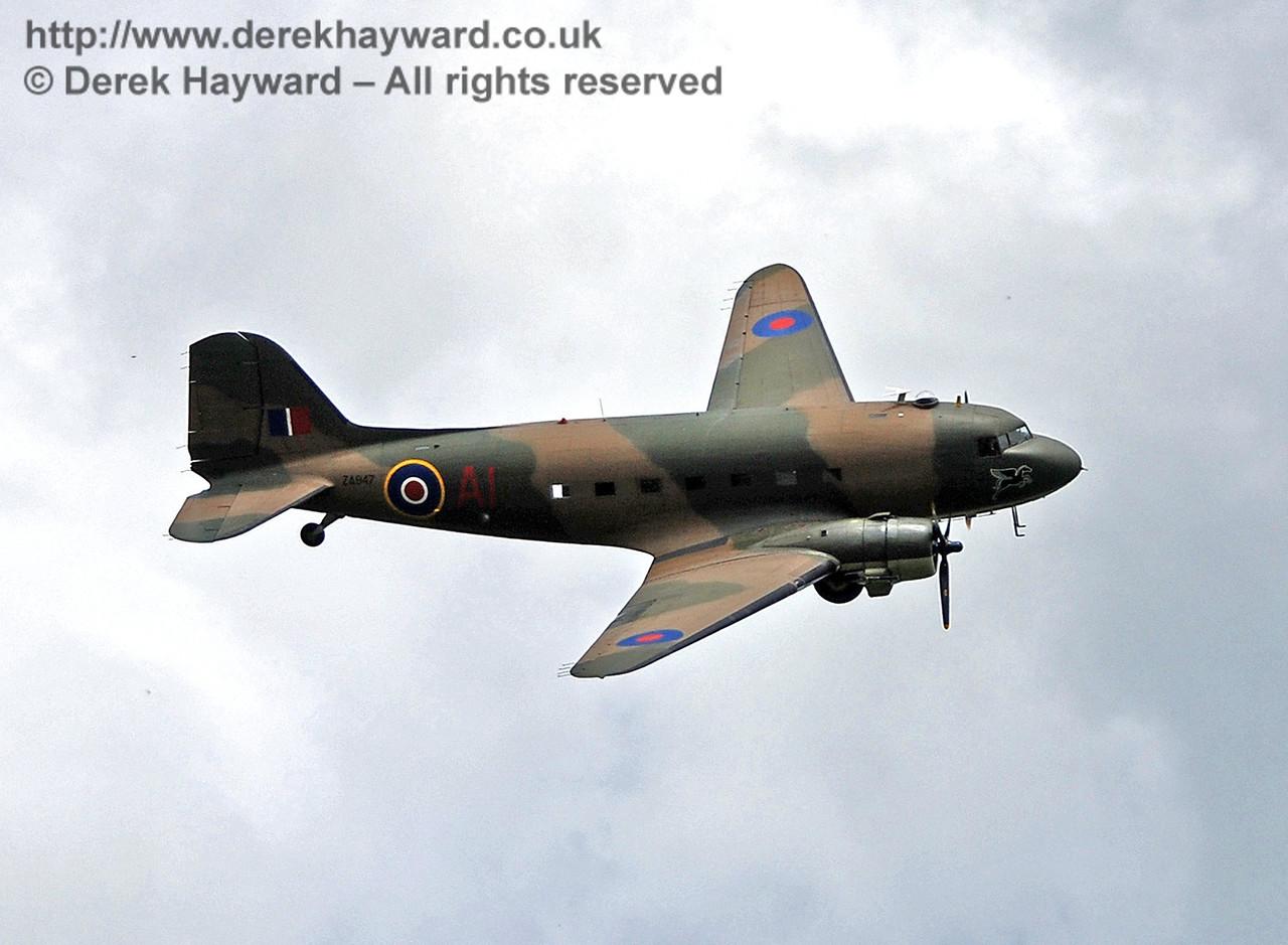 Battle of Britain Memorial Flight Dakota fly-past in honour of the late Simon Baker, Station Master, Horsted Keynes. 09.05.2009
