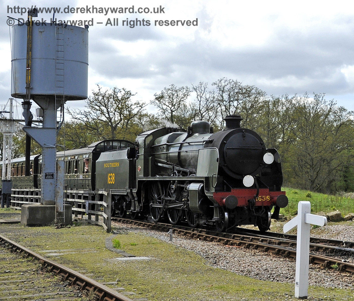 1638 passes the water tower at Horsted Keynes.  Southern at War, 12.05.2013  6898