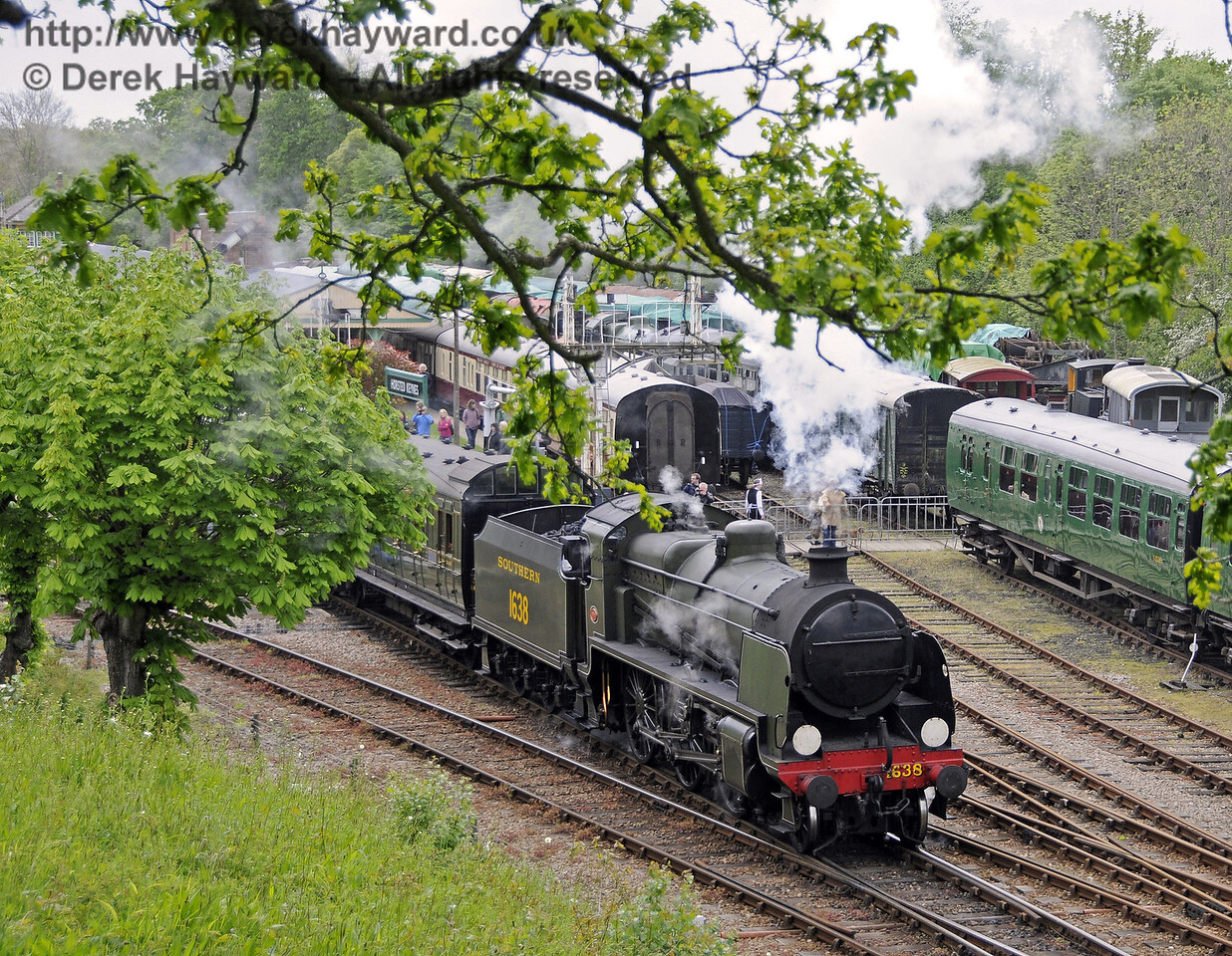 1638 steams north with a service train.  Southern at War, Horsted Keynes, 10.05.2014  10322