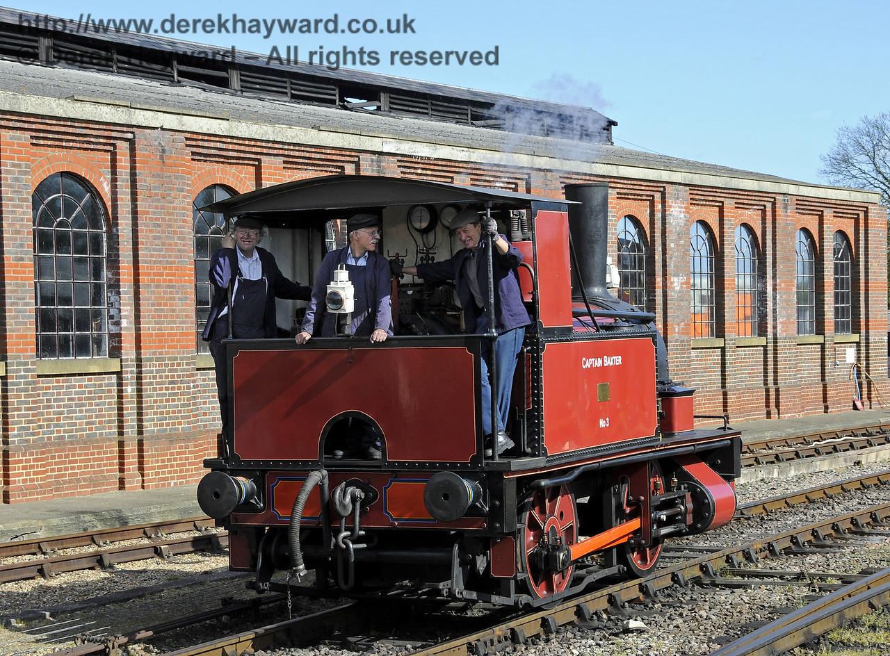 Captain Baxter steams towards it's train.  Southern at War, Sheffield Park, 11.05.2014  10488