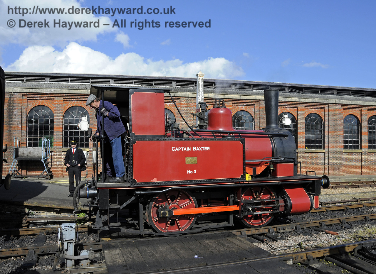 Captain Baxter attaches to it's train.  Southern at War, Sheffield Park, 11.05.2014  10489