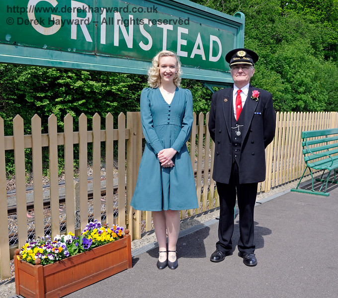 Rose Lancaster, the Vintage Vocalist, with the Station Master at East Grinstead.  Southern at War,  14.05.2016  15164