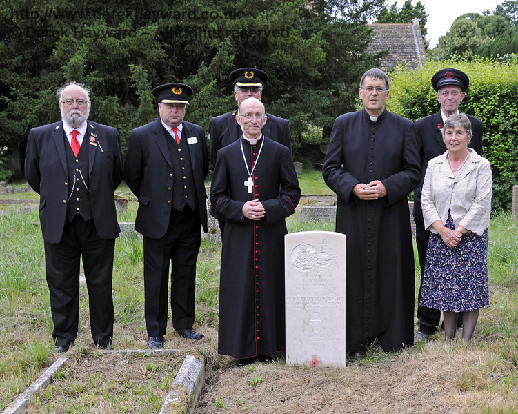 On 31 July 2013, the 70th anniversary of the accident, the Knapp gravestone was blessed by the Right Reverend Dr Martin Warner MA PhD, Bishop of Chichester.  Also pictured are Canon John Twisleton (Father John), Rector of St Giles and Chaplain to the Bluebell Railway, Hilary Nicholson, Chair of St Giles Churchyard Committee, Tim Baker, Commercial Director, Bluebell Railway, and (in uniform) from the Bluebell Railway are John Hotston. Ian Fribbens and Geoff Peters.<br /> <br /> St Giles Church, Horsted Keynes 31.07.2013  9619