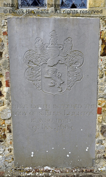 """A memorial on the outside southern wall of the church:<br /> <br /> """"Here lyeth interred the body of Sir Ellis Leighton, Knight, who died 9 January 1684.""""<br /> <br /> St Giles Church, Horsted Keynes 06.04.2013  6665"""