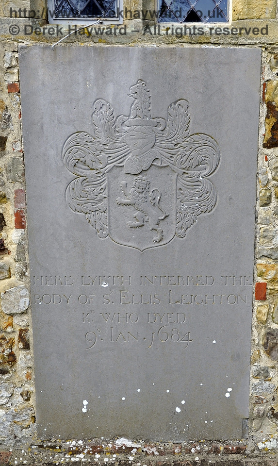 "A memorial on the outside southern wall of the church:<br /> <br /> ""Here lyeth interred the body of Sir Ellis Leighton, Knight, who died 9 January 1684.""<br /> <br /> St Giles Church, Horsted Keynes 06.04.2013  6665"