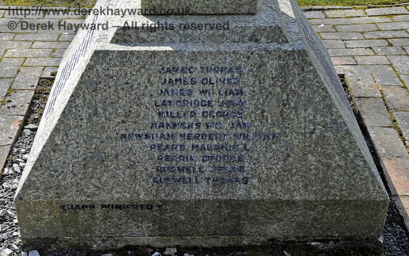 The inscriptions on the War Memorial at St Giles Church, Horsted Keynes.  <br /> Killed in the 1914 - 1918 war:<br /> James Thomas<br /> James Oliver<br /> James William<br /> Langridge John<br /> Miller George<br /> Manners William<br /> Newnham Herbert William<br /> Pears Maurice L<br /> Perrin George<br /> Ruewell Jesse<br /> Ruewell Thomas<br /> <br /> And from the 1939 - 1945 war:<br /> Knapp Winifred E<br /> <br /> 06.04.2013  6692
