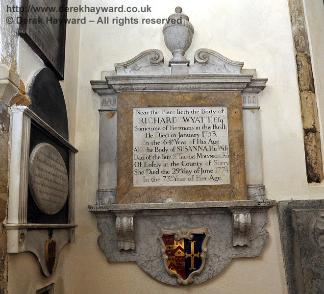 """Near this Place lieth the Body of Richard Wyatt Esq.  Sometime of Treemans in this Parish.<br /> He Died in January 1753, In the 64th Year of His Age.<br /> Also the Body of Susanna His Wife<br /> Daughter of the late Sir Thomas Molyneux, Knight<br /> Of Losely in the County of Surrey<br /> She Died the 29th day of June 1774, In the 73rd Year of Her Age.""<br /> <br /> St Giles Church, Horsted Keynes  06.04.2013  6637"